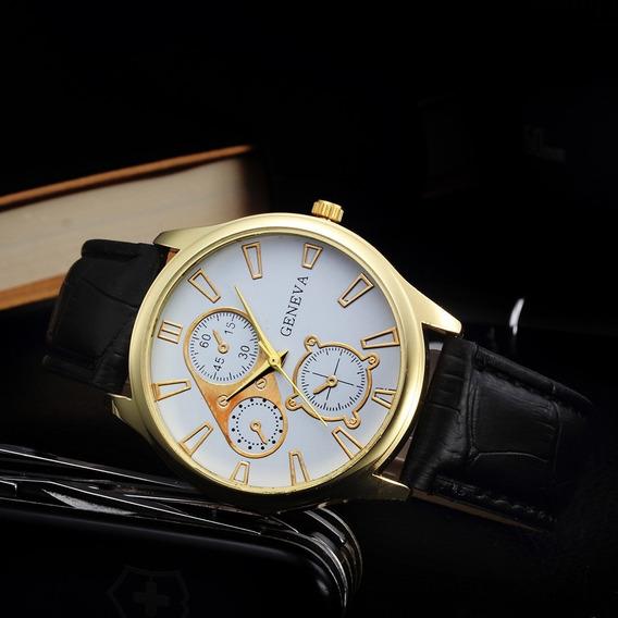 Kit 2 Relógio Masculino Geneva Pulseira D.couro Frete Gratis