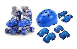 Patin Niño+ Casco+ Set Protecc. T 25 Al 36/azul/rojo+ Envio
