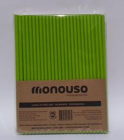 100 Canudos De Papel Biodegradável Verde 6mm Atacado