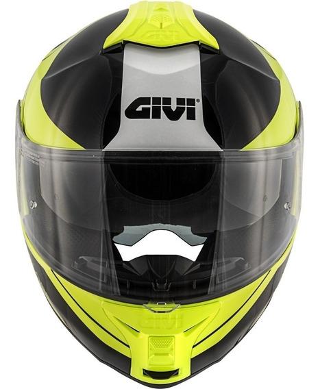 Capacete Givi X21 Globe Preto / Amarelo Fluor / Prata 60 L