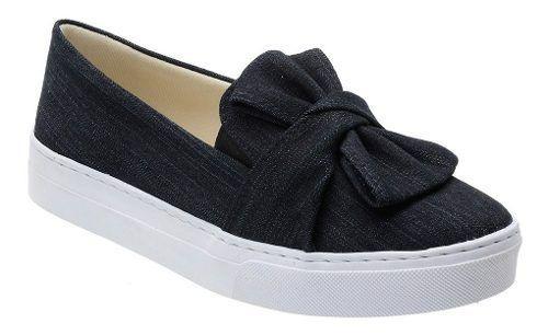 Tênis Slip On Feminino Jeans Laço Estiloso