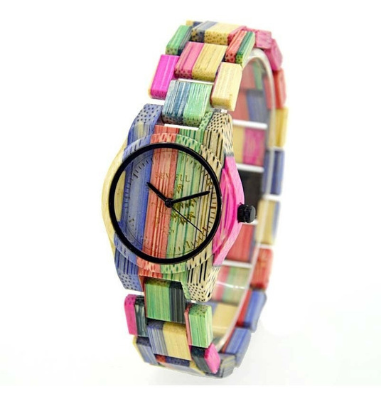 Relógio Madeira Bewell Original Colorido Feminino