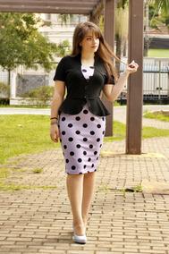 Vestido 2 Em 1 Poá Detalhe Blazer Moda Evangélica Dara 021