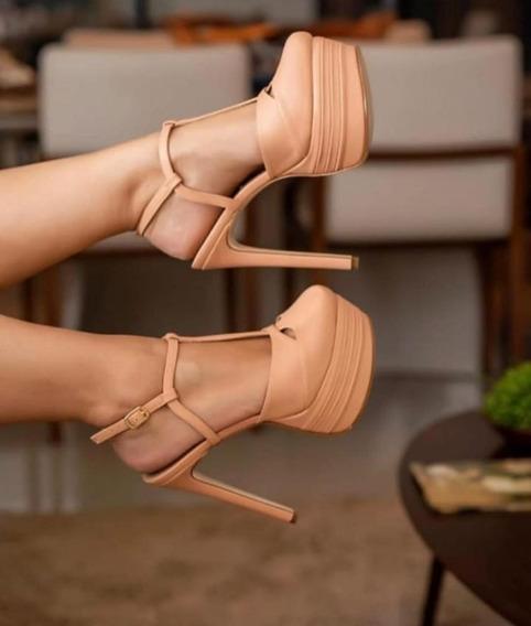 Sapato Inspiração Cor Amêndoa Salto 15 Cm