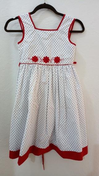Vestido Blanco Vivos Rojo Y Negro Marca Gerat Para Niña 10