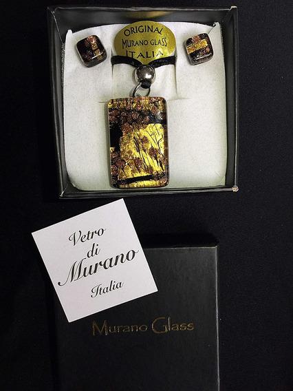 Colar E Brincos Italiano Murano Glass/ Murano Com Pó De Ouro
