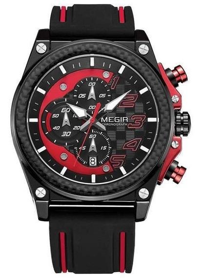 Relógio Masculino Megir Action Pulseira Silicone Vermelho