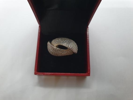 Anel Grande Cravejado Em Prata 925 C Garantia Lj061