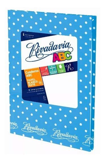 Cuaderno Abc Rivadavia 50 Hjs Lunares Celeste Ray 19x23,5cm