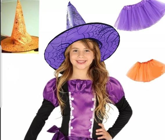 1 Combo Sombrero Bruja Y Tutu Nena Fiesta Halloween Disfraz