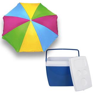 Caixa Térmica Cooler 34 Litros Azul + Guarda Sol Mor