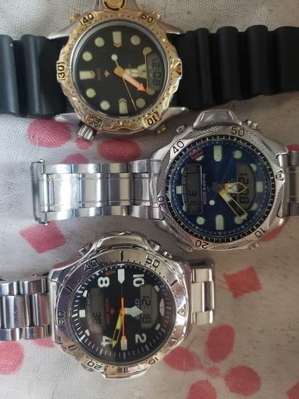 3 Relógios Citizen Aquamont Aço Inox,aqualand C22,duplex
