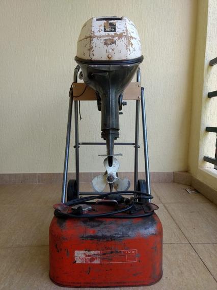 Motor De Popa Johnson 9,5 Cv 1968 C/ Tanque Gasolina Origina