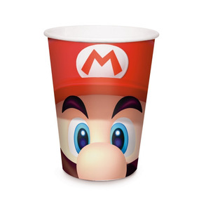8 Copos Papel Super Mario 240ml Dec. Festas