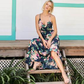 Moda Mujeres Impresión Floral Boho Maxi Vestido Correa Espa
