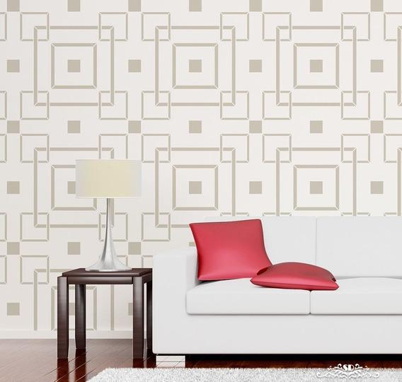Stencil Square Rooms Plantilla Decorativa Para Pintar