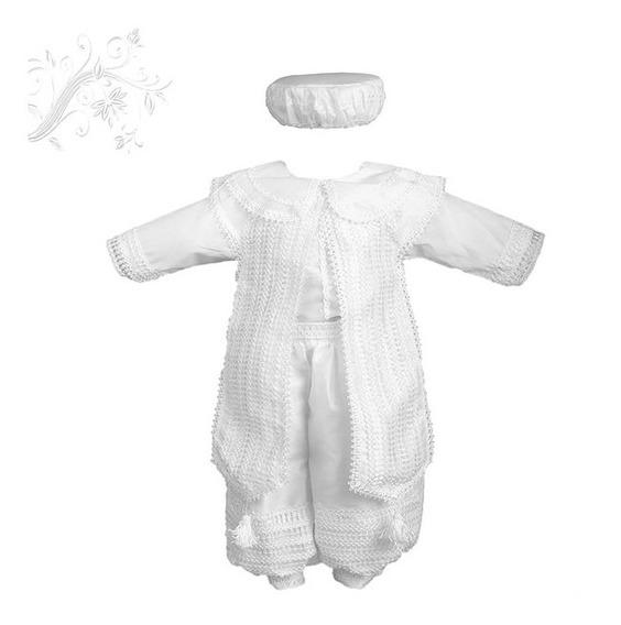 Traje De Bautizo Para Niño Blanco 7-12 Meses Bordado De Cruz