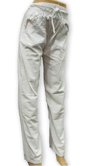 Pantalon Dama Lienzo Rustico 1/2 Elastico Frente Tiro Alto