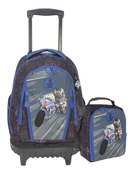 Set Mochila Con Ruedas Cross Pack 998 Escolar Xtrem Moto Gp