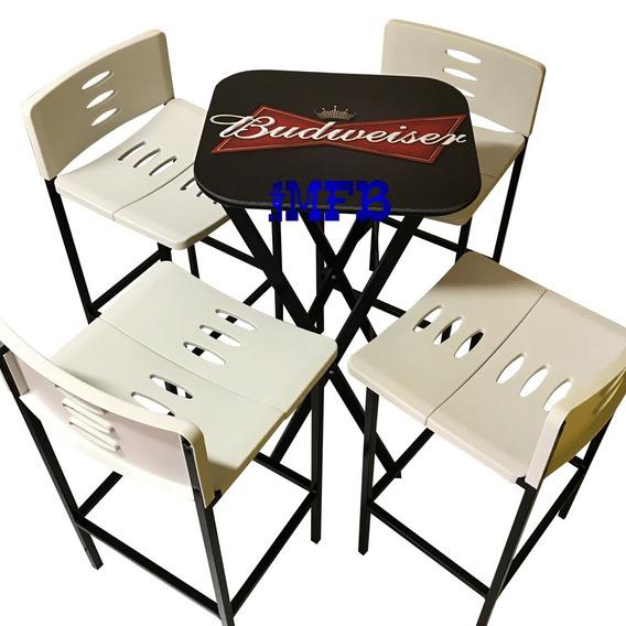 Jogos De Mesa Bar Bistrô Linha Beer Com 4 Banquetas Brancas