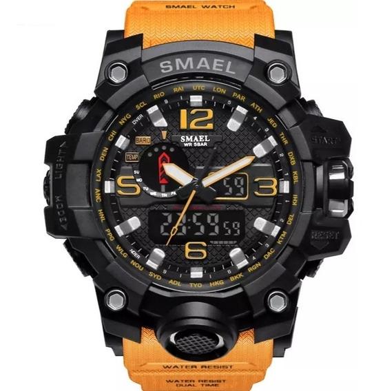 Relógio Militar Masculino Preto/amarelo-lepadi Pronta Entreg