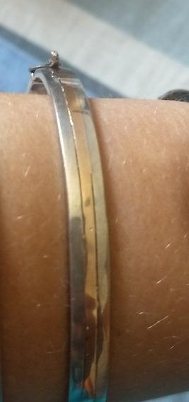 Bracelete De Prata Com Filete De Ouro 18, Ouro Rosé.