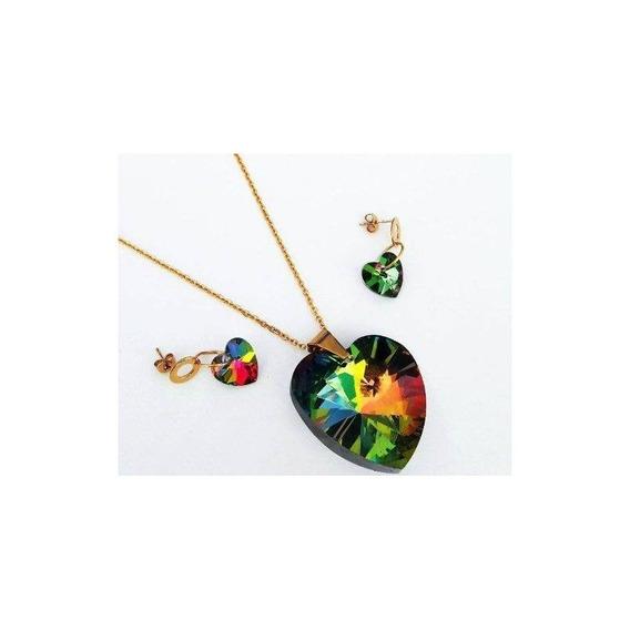 Kit De Cadena Dije Y Aretes Corazon Rainbow De Acero Inox