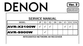 Manual De Serviço Receiver Denon Avr-s900w - Formato Pdf!