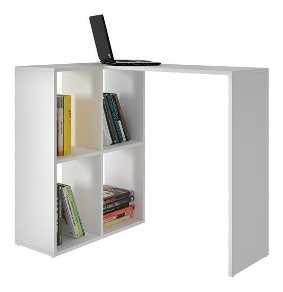 Mueble Escritorio Con 4 Nichos Armable Blanco Bc 42