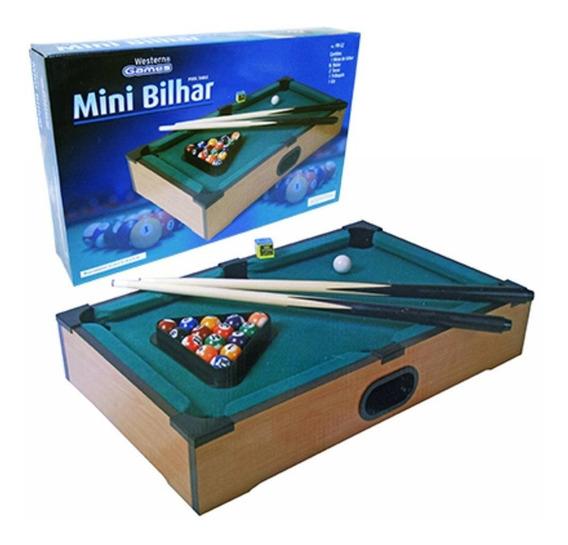 Mini Mesa Em Madeira De Bilhar Sinuca Snooker Western Games