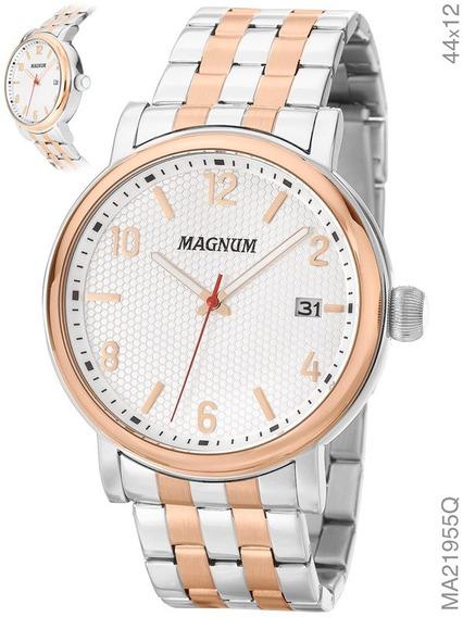 Relógio Magnum Masculino Prata E Rosé Aço Ma21955q