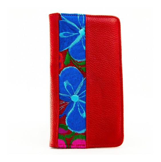 Porta Pasaporte De Piel Rojo Bordado Artesanal Envio Gratis