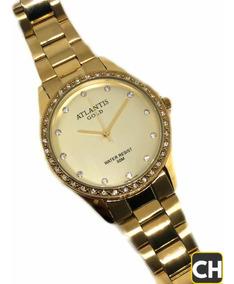 Relógio Fêminino Gold Original Aprova De Água Luxo+ Brinde!!