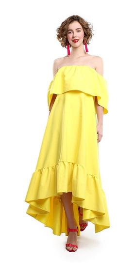 Vestido High Low Volantes Mujer Amarillo Envió Gratis Lob