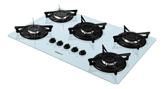 Fogão cooktop a gás Fogatti V500X branco-esmaltado 110V/220V