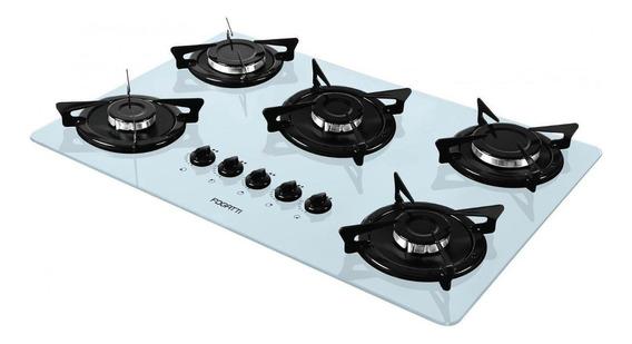 Fogão cooktop a gás Fogatti V500X branco-esmaltado 110V/220V (Bivolt)