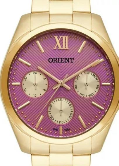 Relógio Orient Feminino Dourado C Rosa Fgssm050 Multi Função
