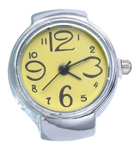 Relógio Feminino De Dedo Anel Mostrador Amarelo Quartz