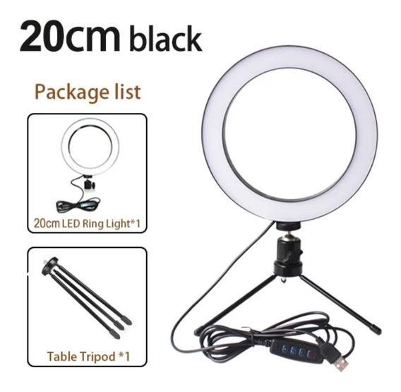 Iluminador Ring Ligth Anel Luz 20cm Com Tripé E Dimmer