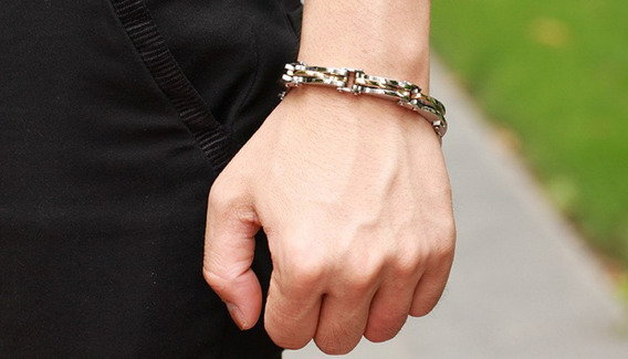 Pulseira Bracelete Masculina De Luxo Ouro 18k