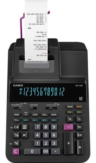 Calculadora Com Bobina De Mesa Casio - Dr-120r Preta