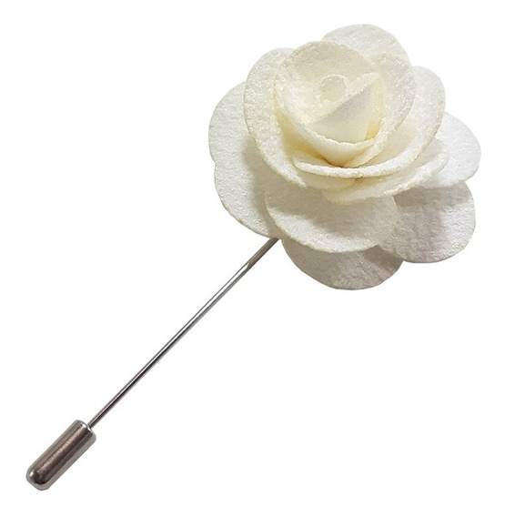 Fistol Pin Broche De Flor Color Blanco Para Solapa