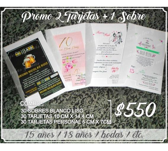 30 Tarjetas De Invitación Con Sobres / 15 / 18 / Bodas/ Cump