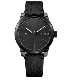 Relógio Tommy Hilfiger Couro Preto 42mm