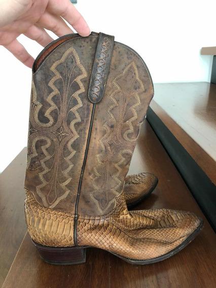 Botas Larry Mahan El Paso Usa10 Couro De Cobra Novíssimas