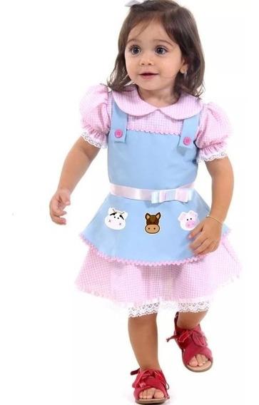 Fantasia Fazendeira Bebê Luxo Animais Da Fazendinha P- 1 Ano