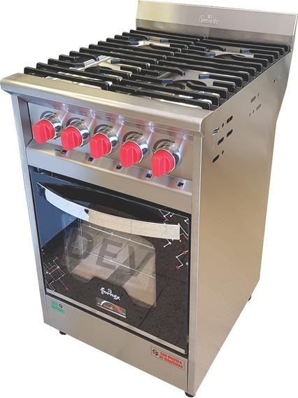 Cocina 4 Hornallas 53 Cm Versátil Neo Fornax Puerta Visor !!