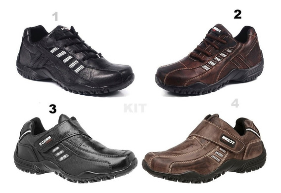 Kit 2 Sapato Sapatênis Masculino Cadarço E Velcro 100% Couro Bovino Facil Calçar Leve Macio Em Promoção Tchwm Shoes
