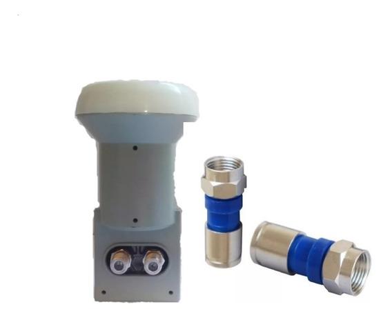 Kit 5 Lnb Duplo+100 Conectores Rg6