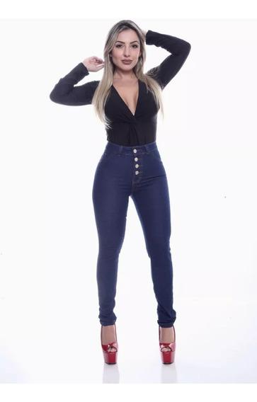Calça Jeans Feminina 4 Botões Cintura Alta